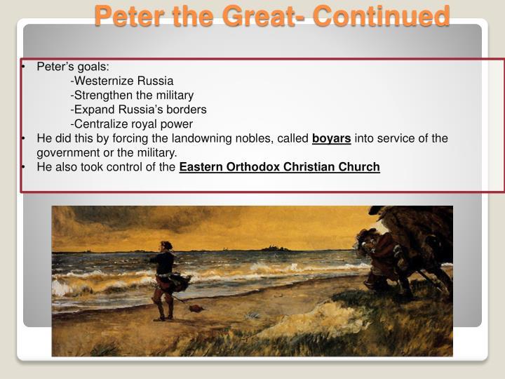 Peter's goals: