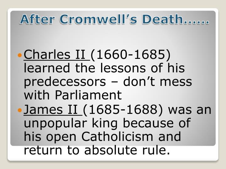 After Cromwell's Death……
