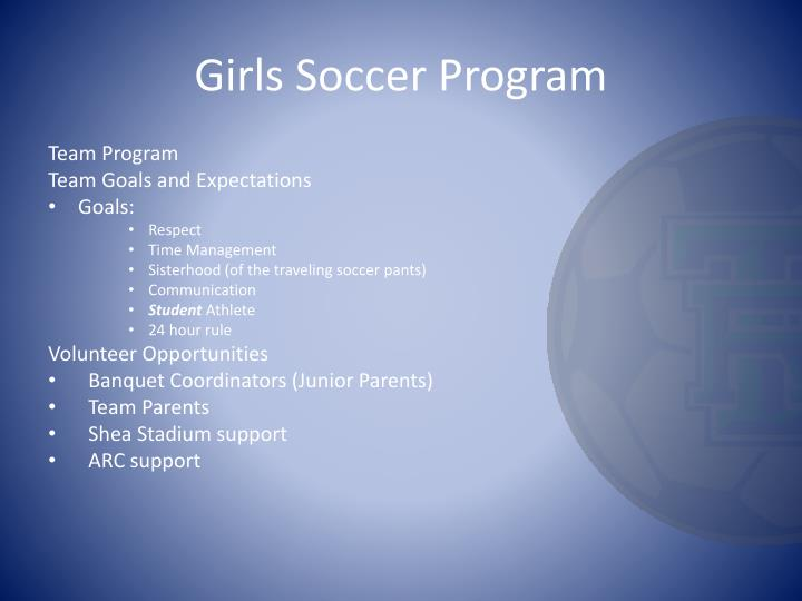 Girls soccer program