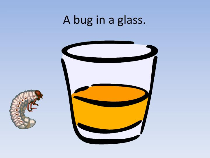 A bug in a glass.
