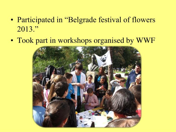 "Participated in ""Belgrade festival of flowers 2013."""