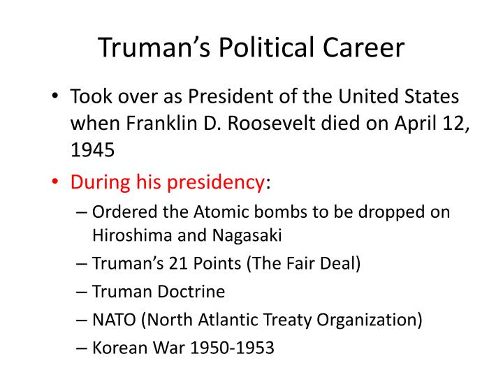 Truman's Political Career
