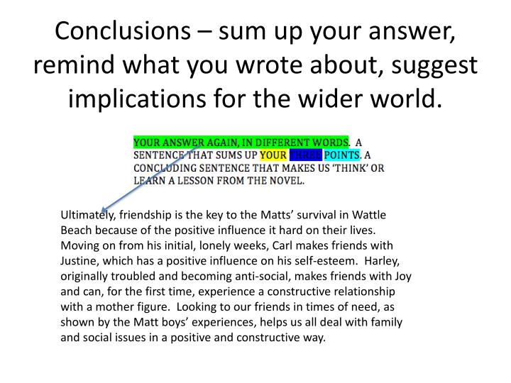 Conclusions – sum up your answer, remind what you wrote about, suggest implications for the wider world.