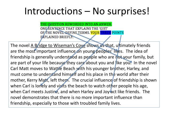Introductions – No surprises!