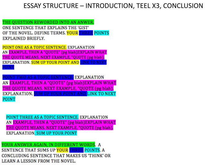 ESSAY STRUCTURE – INTRODUCTION, TEEL X3, CONCLUSION