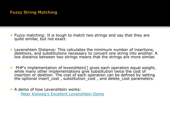 Fuzzy String Matching