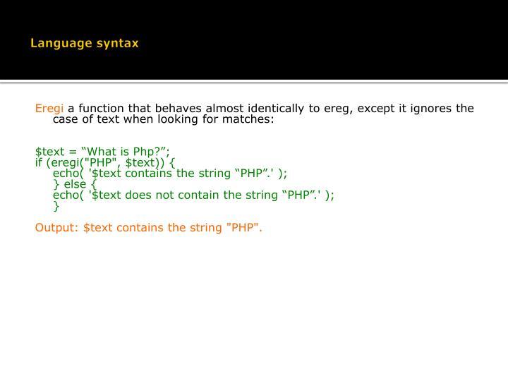 Language syntax