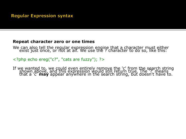 Regular Expression syntax