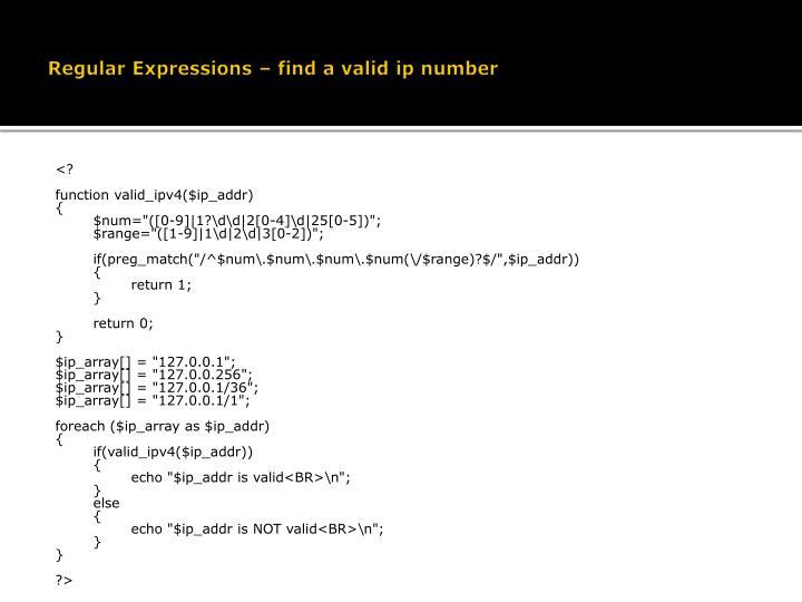 Regular Expressions – find a valid ip number