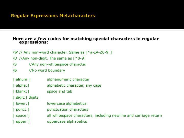 Regular Expressions Metacharacters