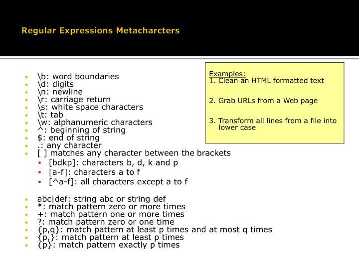 Regular Expressions Metacharcters