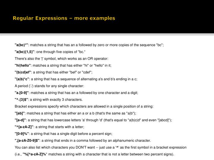 Regular Expressions – more examples