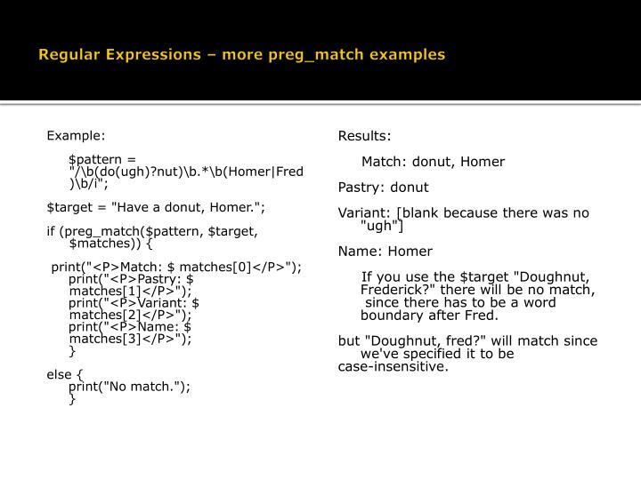 Regular Expressions – more preg_match examples