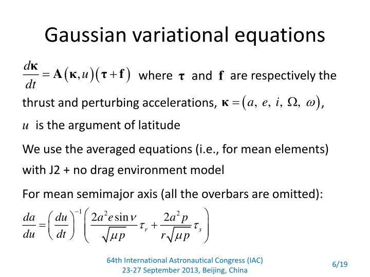 Gaussian variational equations