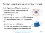 passive stabilization and orbital control