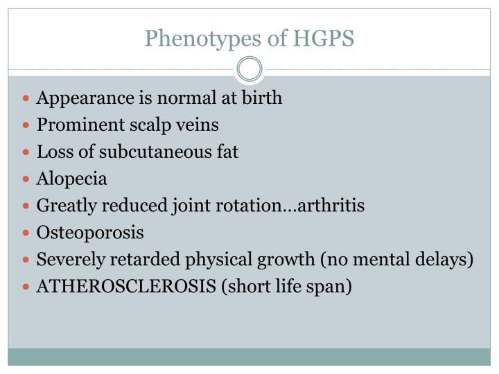 Phenotypes of HGPS