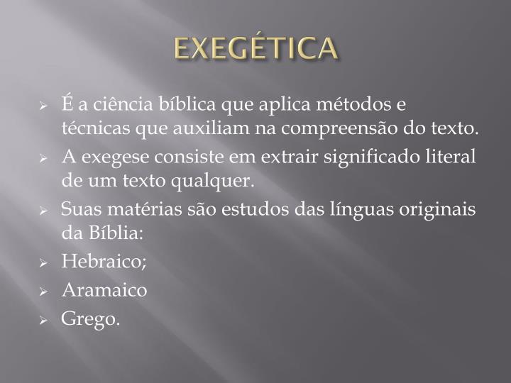 EXEGÉTICA