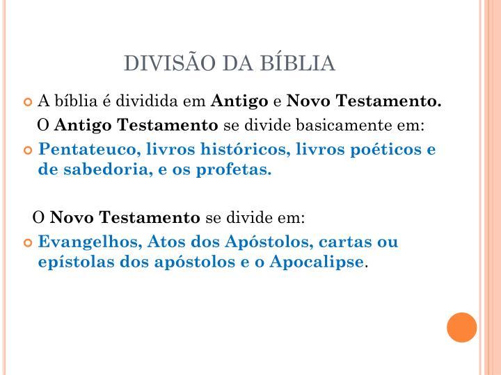 DIVISÃO DA BÍBLIA