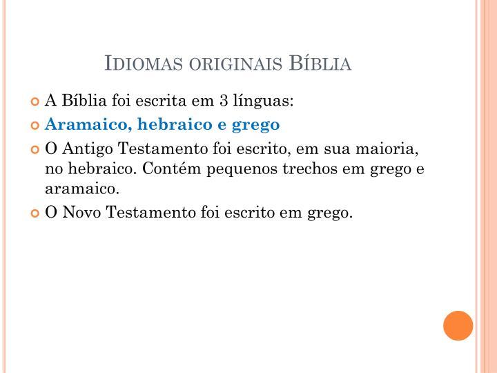 Idiomas originais Bíblia