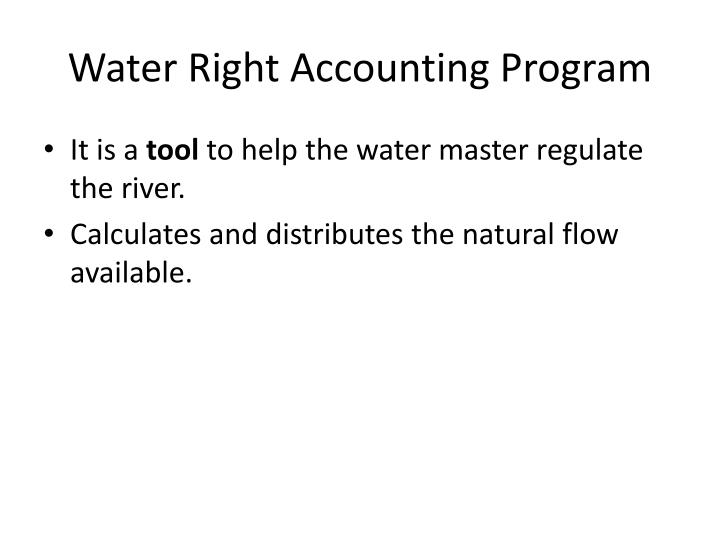 Water Right Accounting Program