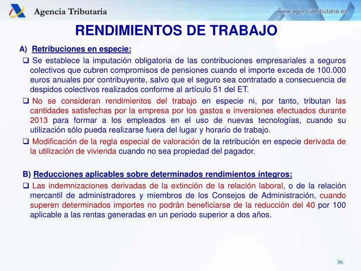 RENDIMIENTOS DE TRABAJO