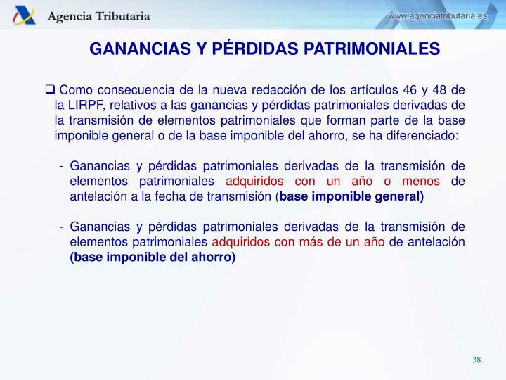 GANANCIAS Y PÉRDIDAS PATRIMONIALES