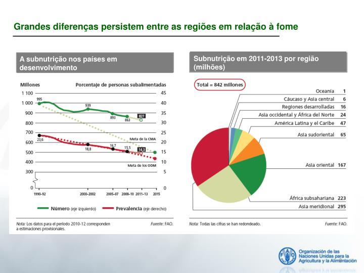 Grandes diferenças persistem entre as regiões em relação à fome
