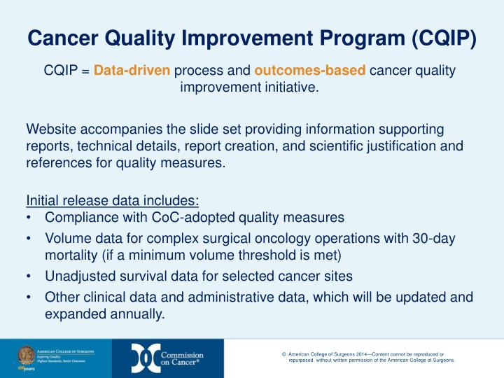 Cancer Quality Improvement Program (CQIP)