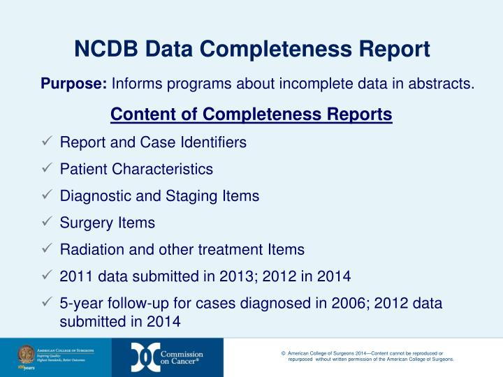 NCDB Data Completeness Report