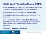 rapid quality reporting system rqrs