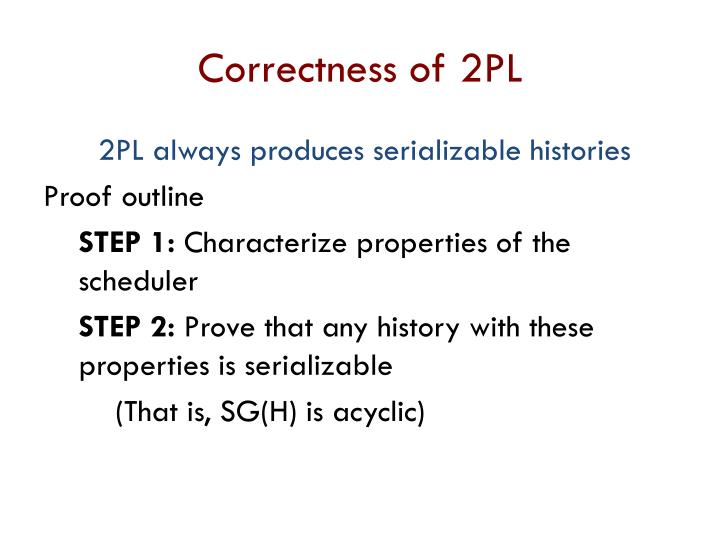 Correctness of 2PL