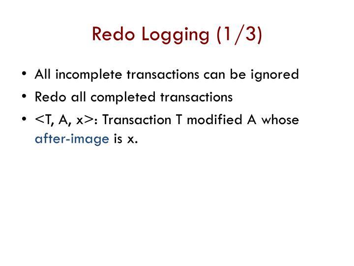 Redo Logging (1/3)