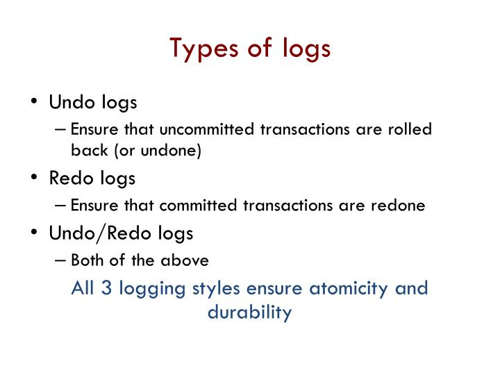 Types of logs
