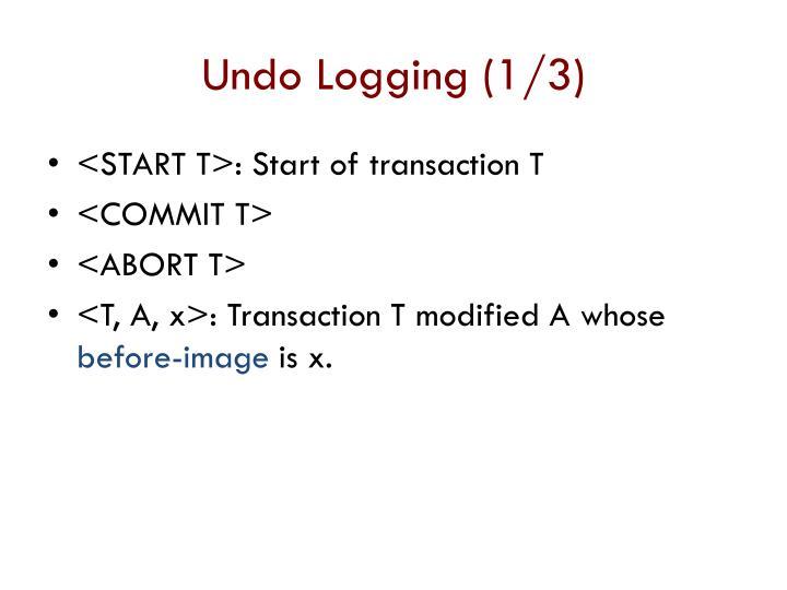 Undo Logging (1/3)