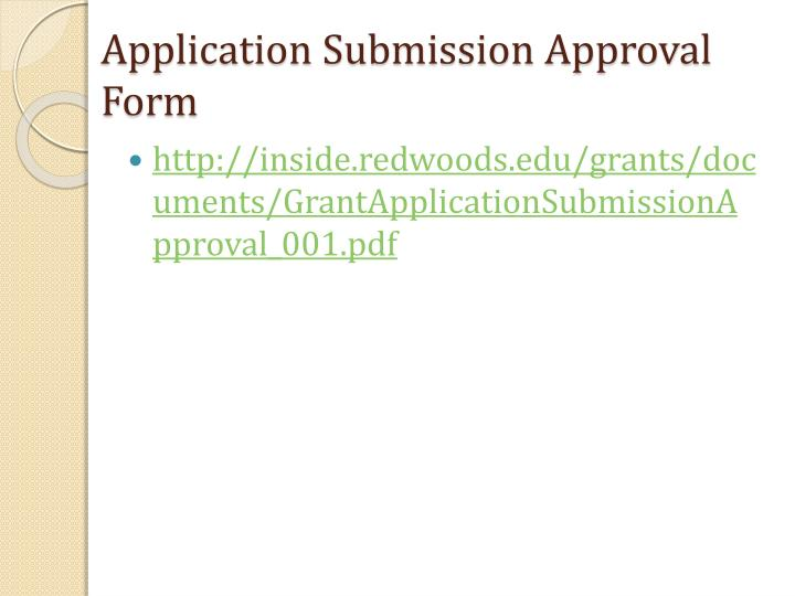 Application Submission Approval Form