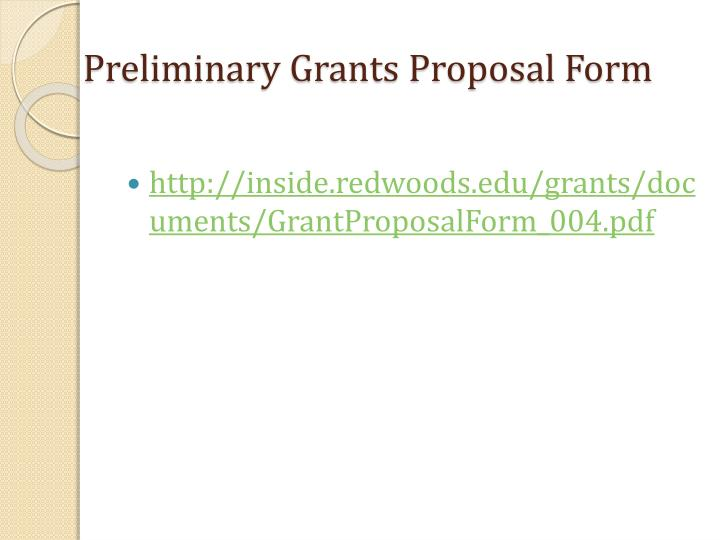 Preliminary Grants Proposal Form