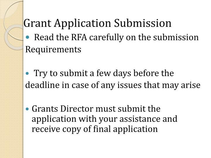 Grant Application Submission