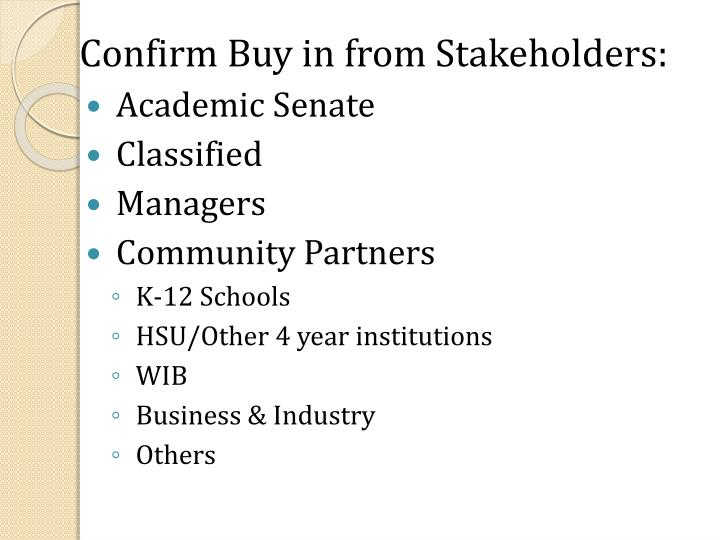 Confirm Buy in from Stakeholders: