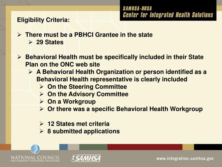 Eligibility Criteria: