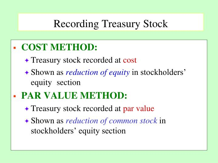 Recording Treasury Stock