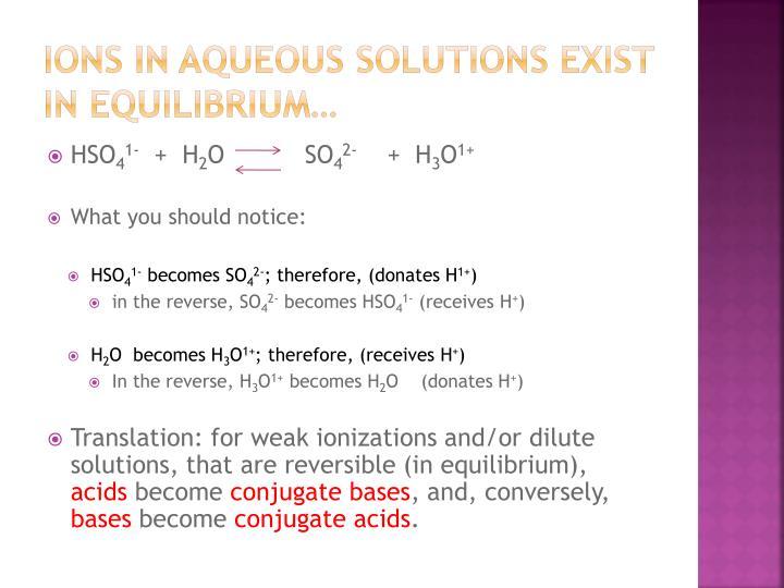 Ions in Aqueous solutions exist in equilibrium…