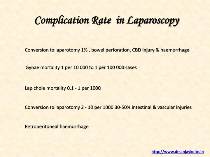 Complication Rate  in Laparoscopy