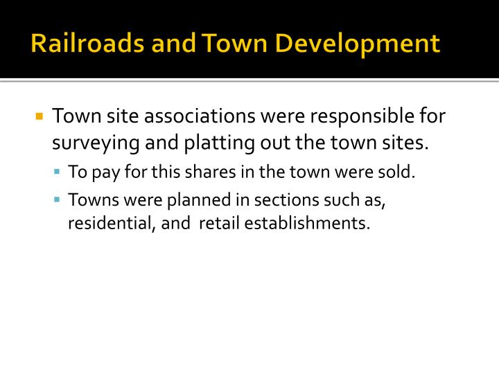 Railroads and Town Development