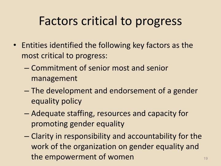 Factors critical to progress