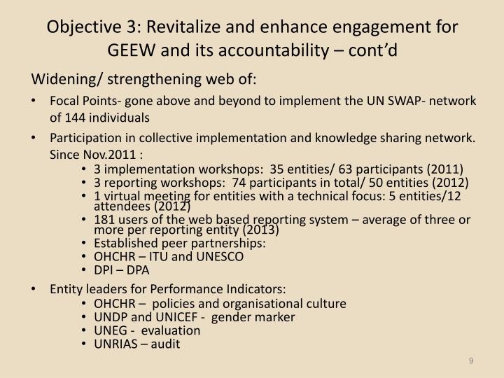Objective 3: Revitalize and enhance engagement for GEEW and its accountability