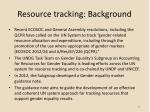 resource tracking background