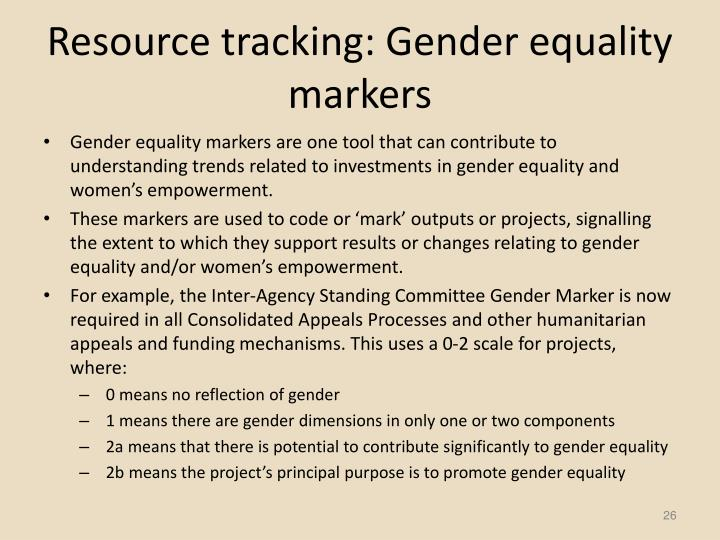 Resource tracking: Gender equality markers