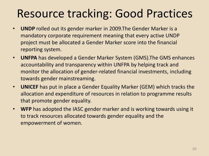 Resource tracking: Good Practices