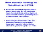 health information technology and clinical health act hitech