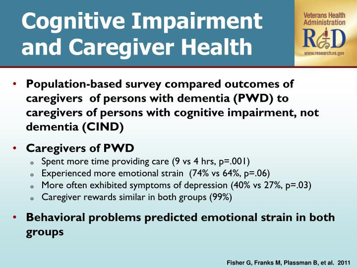 Cognitive Impairment and Caregiver Health